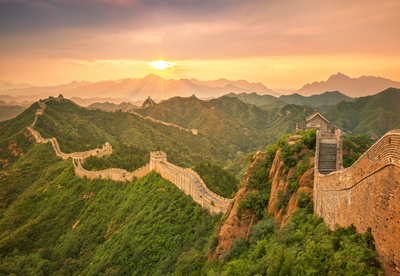 Great wall with sunset glow